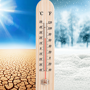 thermometer surrounded by desert image and winter image