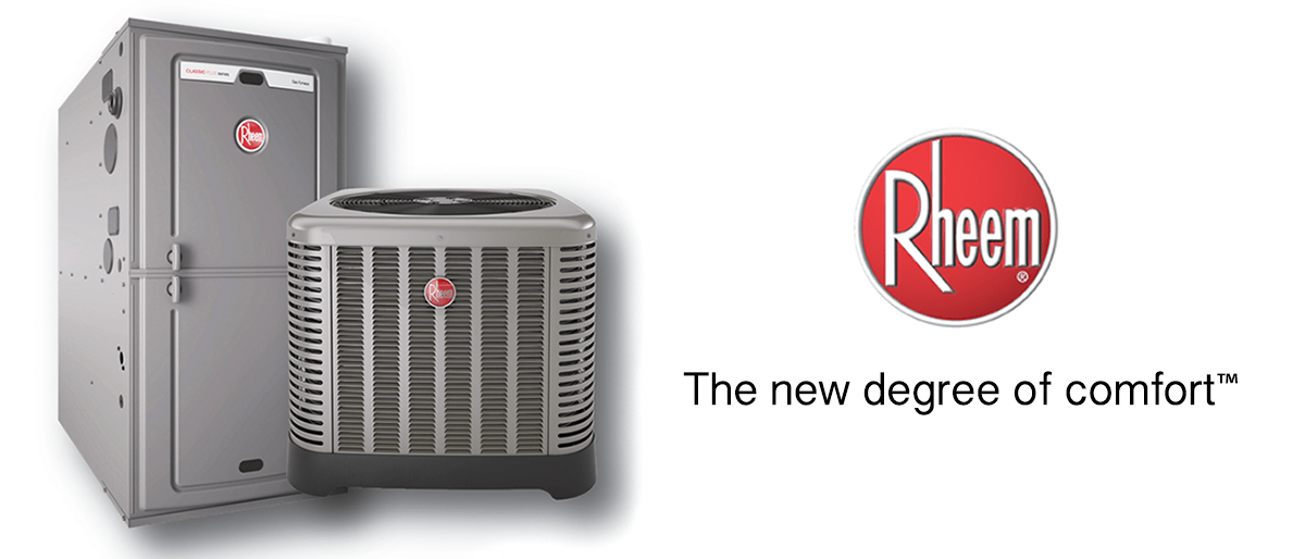 Rheem Logo with two HVAC units